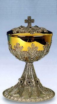 Pisside in argento con inserti in pietra e lavorazione in filigrana mod. 691