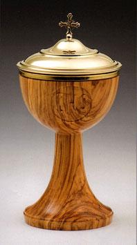 Pisside in legno d' ulivo con incisione IHS mod. 12107