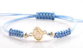 Bracciale in argento della Madonna Miracolosa - azzurro