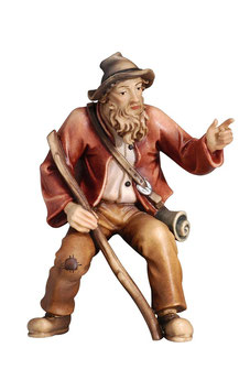 Statua pastore che indica in legno