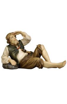 Statua pastore sdraiato in legno