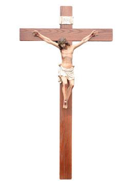 Statua Cristo in croce in resina cm. 70 su croce in legno da parete