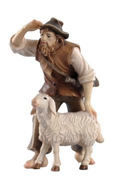 Statua pastore con pecora in legno