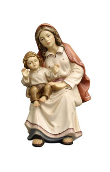Statua donna seduta con bambino in legno