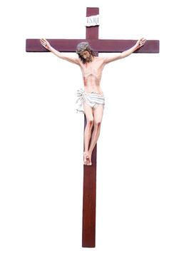 Statua Cristo in croce in vetroresina cm. 160 su croce in legno da parete