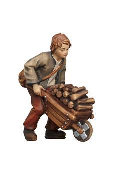 Statua ragazzo con carriola e legna in legno