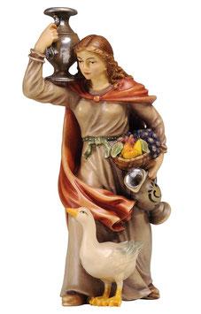 Statua donna con brocca e oca in legno
