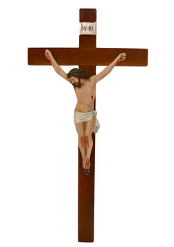 Statua Gesù crocifisso in resina cm. 50 su croce in legno da parete
