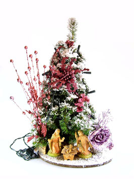 Albero di Natale con statue Natività modello Ametista