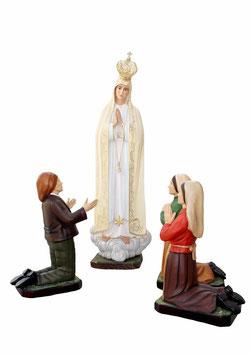 Statua Madonna di Fatima cm. 180 in vetroresina con occhi di vetro + tre pastorelli in resina cm 85