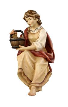 Statua pastora con secchio in legno