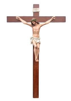 Statua Gesù Cristo crocifisso in vetroresina cm. 105 su croce in legno da parete