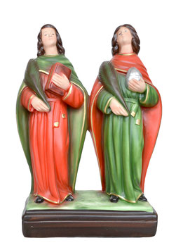 Statua Santi Cosma e Damiano cm. 28 in resina