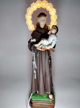 Statua Sant' Antonio di Padova cm. 30 in resina con aureola illuminata