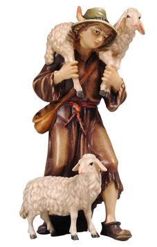 Statua pastore con pecore in legno