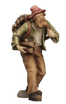 Statua pastore con legna in spalla in legno