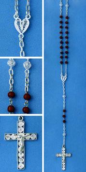Rosario in argento e corallo rosso mod. 317C