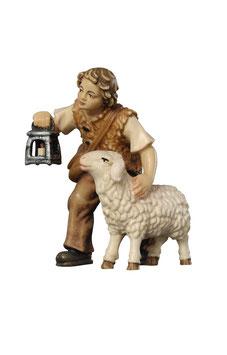 Statua bambino con lanterna e pecora in legno