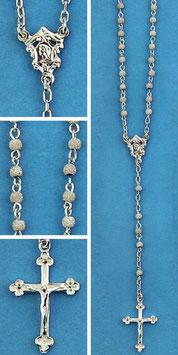 Rosario in argento grano tondo diamantato mod. 1575