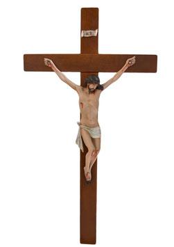 Statua Gesù crocifisso in resina cm. 40 su croce in legno da parete