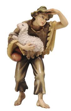 Statua ragazzo con pecora in legno