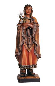 Statua Santa Caterina Tekakwitha in legno