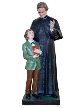 Statua San Giovanni Bosco (con San Domenico Savio) cm. 118 in vetroresina