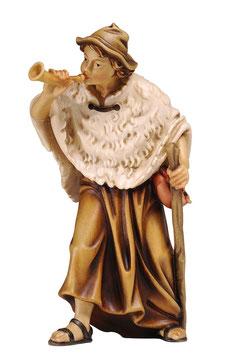 Statua pastore con corno e mantella in legno
