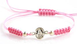 Bracciale in argento della Madonna Miracolosa - rosa