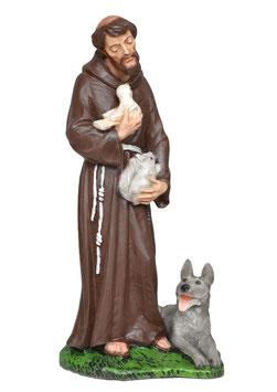 Statua San Francesco d' Assisi cm. 30 in resina con lupo di Gubbio