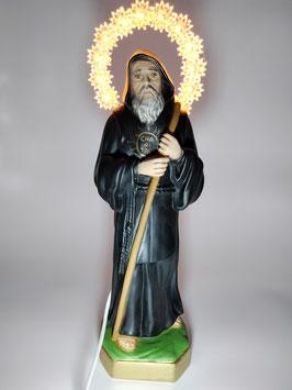 statua San Francesco di Paola cm 33 in resina con aureola illuminata