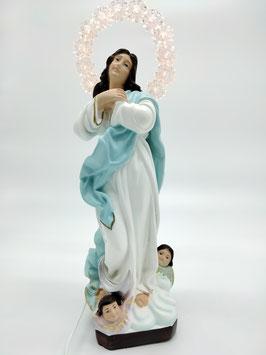 Statua Madonna Assunta del Murillo cm 30 in resina con aureola illuminata