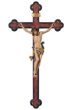 Statua Gesù crocifisso  in legno da parete su croce antichizzata barocca
