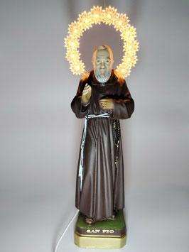 Statua San Padre Pio cm. 30 con aureola illuminata