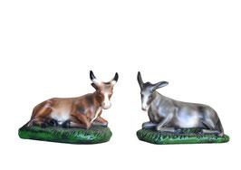 Statue Bue e asino in resina per Natività cm. 37
