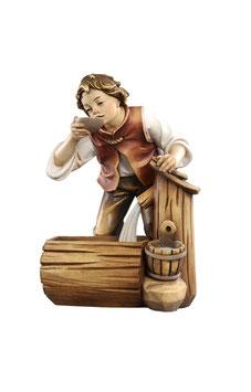Statua bambino con fontana in legno