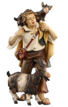 Statua pastore con capre in legno