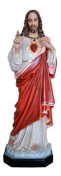 Statua Sacro Cuore di Gesù benedicente cm. 140 in vetroresina