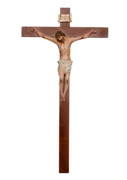Statua Gesù Cristo crocifisso in vetroresina cm. 80 su croce in legno da parete