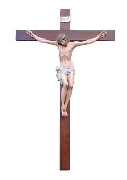 Statua Cristo in croce in vetroresina cm. 120 su croce in legno da parete