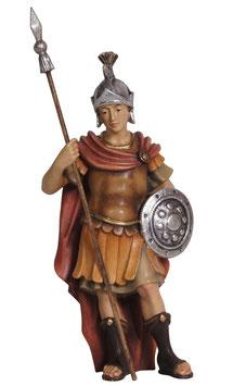 Statua soldato con lancia e scudo in legno