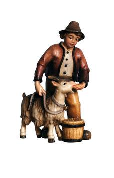 Statua ragazzo con capra in legno