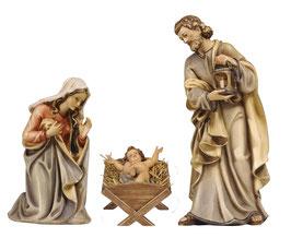 Statua Sacra Famiglia in legno - culla semplice