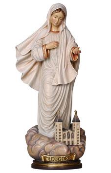 Statua Madonna di Medjugorje con chiesa in legno