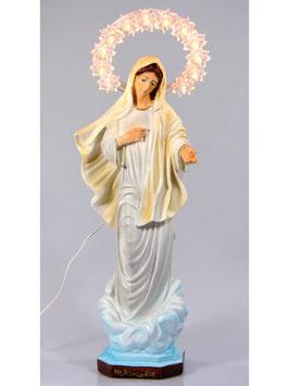 Statua Madonna di Medjugorje in resina cm. 30 con aureola illuminata