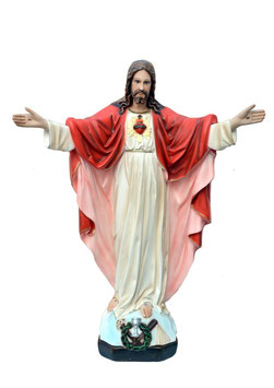 Statua Sacro Cuore di Gesù con braccia aperte cm. 40 in resina