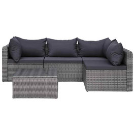 Loungeset met kussens poly rattan grijs   8718475607786