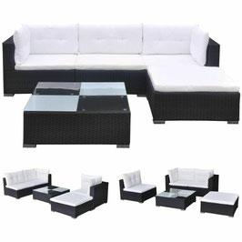 Loungeset met kussens poly rattan zwart    8718475963295