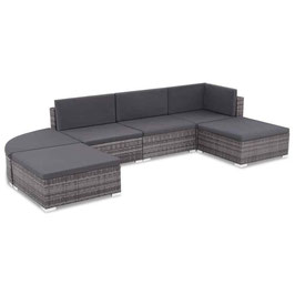 Loungeset Poly Rattan grijs 16-delig Lounge Set Tuinset                  8718475616535