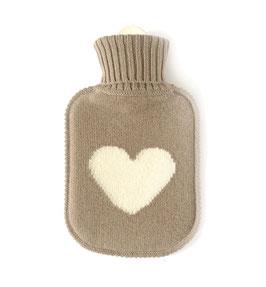Kaschmir Wärmflasche HEART • hazel